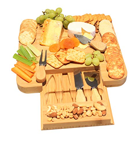 Slide Out Finish - Natural Bamboo Cheese Board With Slide Out Drawer Cutlery Set