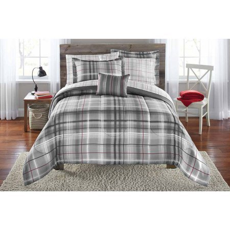 Mainstays Bed-in-a-Bag Bedding Comforter Set, Grey Plaid, Full Plaid Bed Bag
