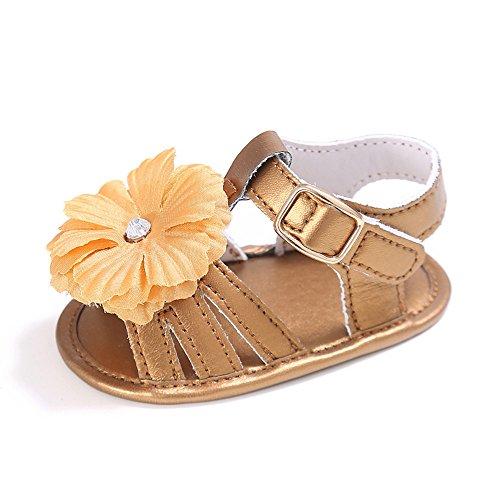 zapatos de Niña de piel sintética con lazo, zapatos Mary Jane, color Blanco, talla 6 - 12 meses dorado