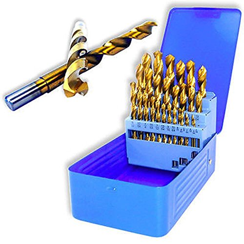 "Power Tools 29pc Titanium Drill Bit Set | Reduced Shank High Speed Steel 1/16"" to 1/2"""