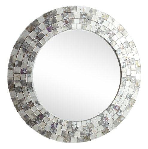 - Home Elegance 4648M Decorative Wall Mirror with Silver Mosaic Round Frame