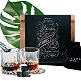 Image of Whiskey Stones and Whiskey Glasses Gift Set - Premium Chilling Rocks (8 cubes), 2 whisky glass in Luxury Wooden Decor Box - Best Dad, Men, Fathers Day Gifts - Cool Bourbon, Scotch, Wine Drink - ÉLEVER