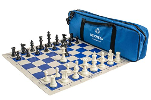 US Chess Federation Supreme Triple Weighted Chess Set Combo - Blue