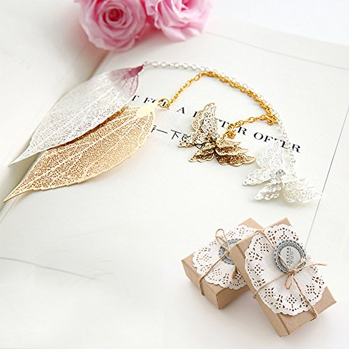 Price comparison product image Metal Bookmark Set,Aolvo Leaf Bookmarks with Butterfly Bookmark Metal Brass Golden & Sliver ,With Beautiful Gift Box,Set of Two