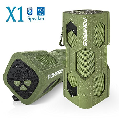 Wireless Bluetooth Speaker, Pomarks X1 Portable Speaker with Dual 5W Drivers,Premium Car Surround Stereo Speaker Featured with 8 Hrs-Long Playing Time, Strong Bass, NFC, Hand-Free & IPX 4 Waterproof
