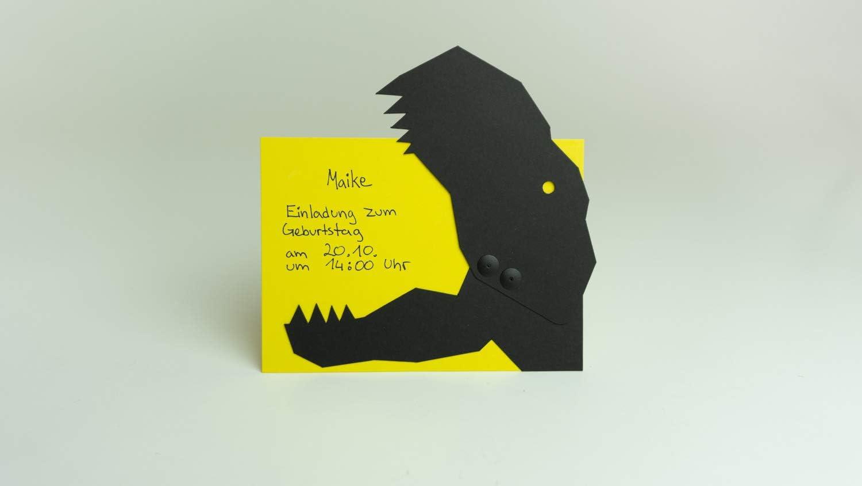 6er Set Dinosaurier Einladungskarten made in Germany Kindergeburtstag Dino T-Rex zum Basteln