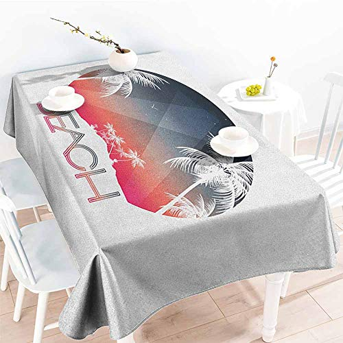 Willsd Custom Tablecloth,Beach Beach Party Tropical Island and Palm Trees with Starry Night and Birds Illustration,Modern Minimalist,W60x120L Multicolor