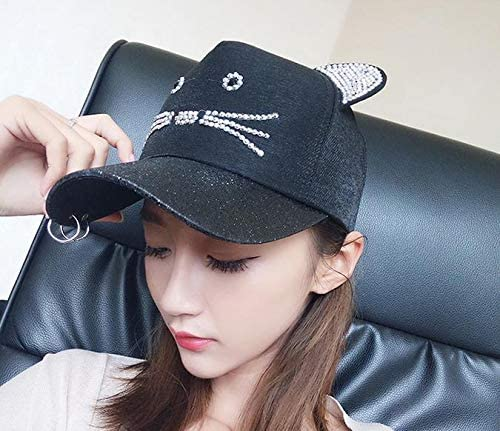 Unique hat Cap Women Girls Summer Base Cute Young Student Fashion cat Ring Visor Cap Black cat Ring