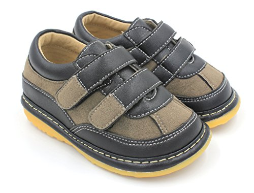Black Suede Boy Sneaker Squeaky Shoes (6) by Little Mae's Boutique (Image #2)