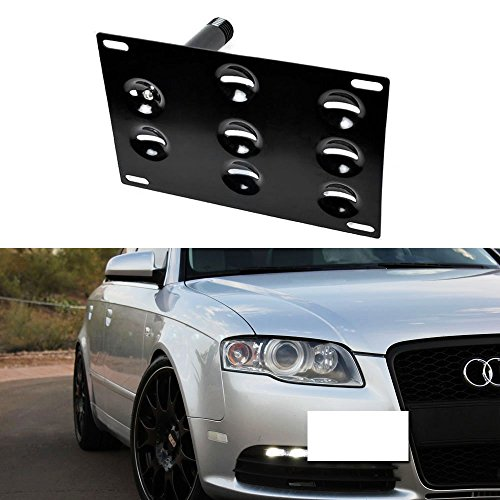 iJDMTOY Front Bumper Tow Hole Adapter License Plate Mounting Bracket For 2001-2008 Audi A4 S4 RS4, 2005-2011 Audi A6 S6