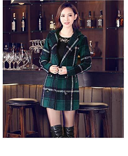 Giubbotto inverno Donna Femminile Misto Rovesciato Green Colletto Tartan In Cappotto Autunno Egcra Da Lungo Cappotti Lana xBTfzwqY