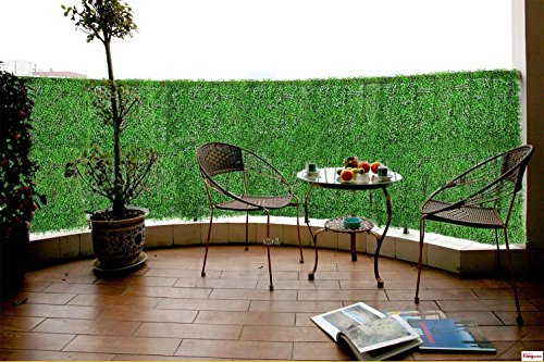 Artificial Boxwood Topiary Hedge Plant Sound Diffuser Privacy Fence Screen Greenery Wall Covers 16 SQ feet 6 Panels 20''x 20'' Suitable for Both Outdoor or Indoor, Garden, Backyard and Home Décor Sq Leafs