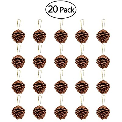 NICEXMAS 20pcs 4-6cm Christmas Pine Cones Pendant With String Natural Wood Christmas Tree Decoration Crafts Home Ornament
