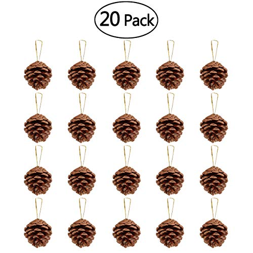 Pine Cone Christmas Tree Ornaments (Unomor 20pcs Christmas Pine Cone Ornaments with String Natural Wood Rustic Christmas Tree Decoration Crafts Christmas Home Hanging Ornament)