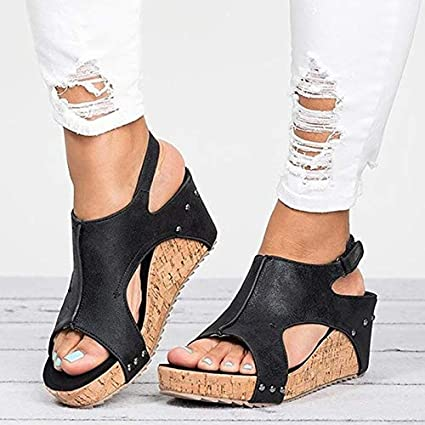 9f5d0067a Image Unavailable. Image not available for. Color: HuWang Women Sandals  2018 Platform Wedges Shoes ...