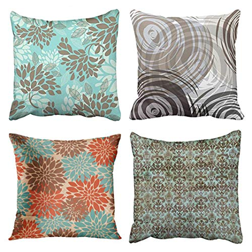 Emvency Set of 4 Throw Pillow Covers Brown Blue Pattern Aqua Green Florals Mix Match Tan Spiral Decorative Pillow Cases Home Decor Square 18x18 Inches Pillowcases