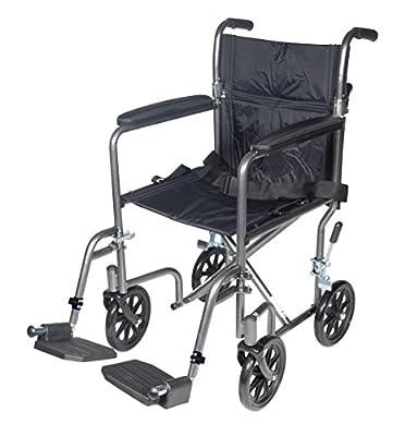 Drive Medical Lightweight Steel Transport Wheelchair, Silver Vein