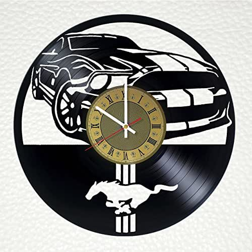 Ford Mustang Muscle Car Art Decor Vinyl Record Wall Clock - gift idea for girls boys parents sister and brother - home & office bedroom nursery room wall decor - customize your clock