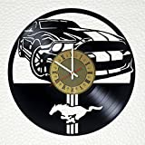 mustang car clock - Ford Mustang Muscle Car Art Decor Vinyl Record Wall Clock - gift idea for girls boys parents sister and brother - home & office bedroom nursery room wall decor - customize your clock