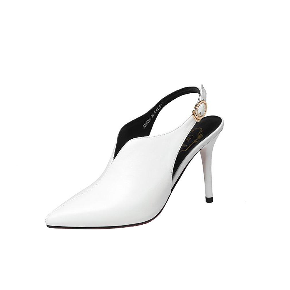 Vaneel Mujer qcfusp Tacón Embudo 12CM Cuero Ponerse Zapatos de tacón 34 EU|Blanco