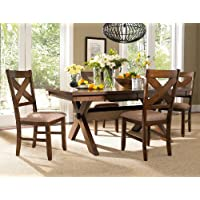 Roundhill Furniture Karven 5-Piece Solid Wood Dining Set with Table and 4 Chairs