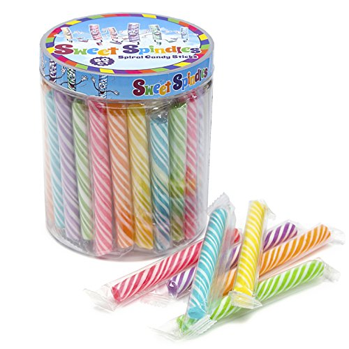 Sweet Spindles Mini Hard Candy Sticks - 50-Piece Jar (Assorted)