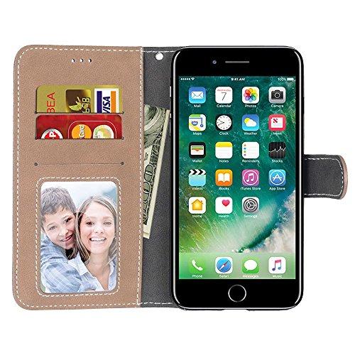 EKINHUI Case Cover Solid Color Premium PU-Leder Tasche Cover matt-Retro-Flip-Stand Hülle Geldbörse mit Karte Schlitze Foto Frames für Apple IPhone 7 IPhone7 Plus 7 + ( Color : 5 )