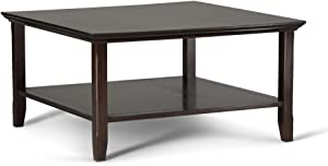 SIMPLIHOME Acadian SOLID WOOD 36 inch Wide Square Rustic Coffee Table in Brunette Brown with Storage, 1 Shelf, for the Living Room, Family Room