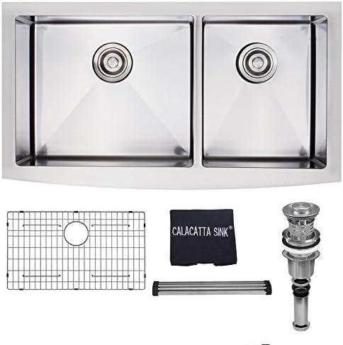 Calacatta Kitchen Sink 36-inch Stainless Steel 304 16 Gauge Handmade Double Bowl 60 40 Farm House Apron Front Kitchen Sink w Drain Strainer Grid Dish Cloth, FM3620BL