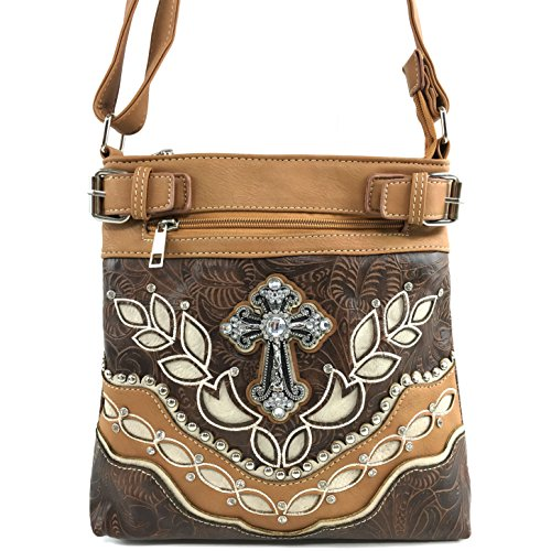 f050810d0a Justin West Cowgirl Western Croc Rhinestone Cross Studded Concealed Carry  Cross Body Messenger Handbag Purse (Brown)