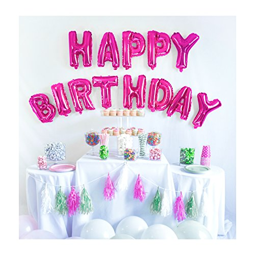 UP Celebrations-Birthday Banner, Happy Birthday Banner, Birthday Balloons, Birthday Decorations, Balloon for Birthday, Foil Happy Birthday Balloons, Balloon Decorations, Balloon Banner (Pink, 16in)