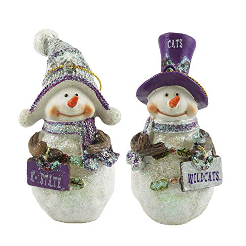- Kansas State Wildcats Collegiate Snowman Christmas Ornaments