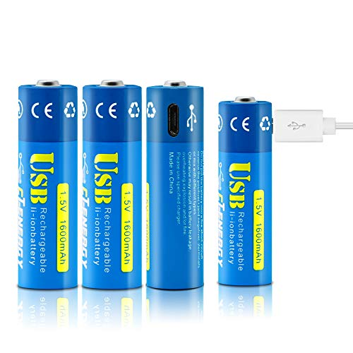 (CT-ENERGY AA Rechargeable Batteries 1.5v 1600mAh, USB Rechargeable AA Lithium Not Need Extra Charger (4-Pack) with 1000times Cycle Charging- ECO-Friendly and Recyclable)
