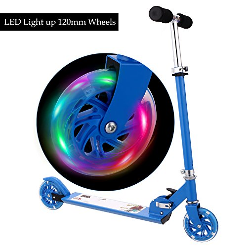 WeSkate B1 Scooter for kids with LED Light up Wheels, Adjustable Height Kick Scooters for boys and girls|Foot Rear Break|5.29 lb Lightweight Folding Push Scooter for Kids from 3-10 years old (Lights Scooters For)