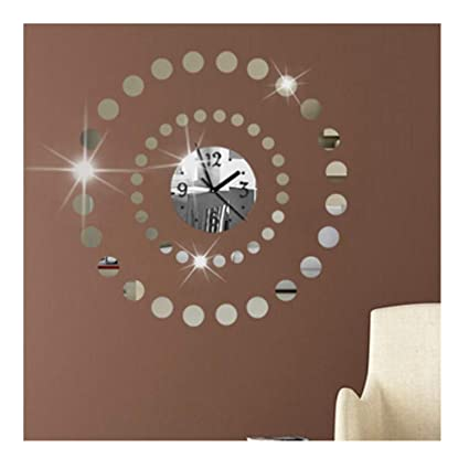 Alrens(TM Circular Art 3D DIY Acrylic Mirror Wall Clock Horloge Reloj De Pared Large