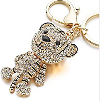 Gold Bearded Key Chain Studded with White Zircon