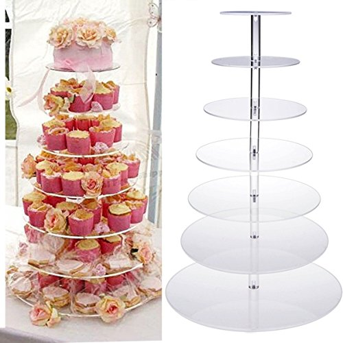 7 Tier Round Crystal Clear Acrylic Cupcake Stand, Tiered Cupcake Carrier Tiered Pastry Stand Wedding Display Cake Tower Stand for Wedding Party by rateim