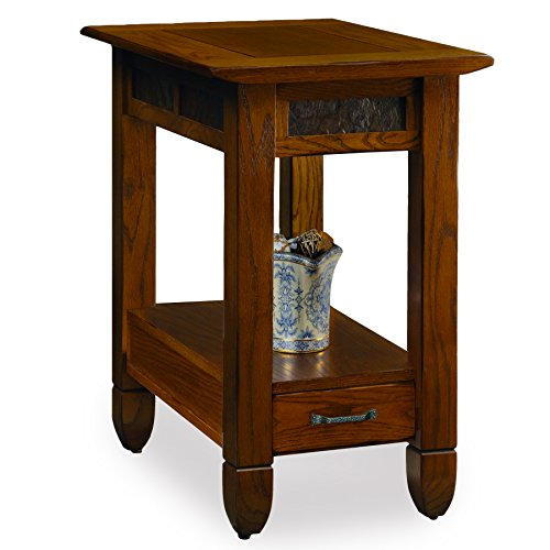 (Slatestone  Oak Chairside End Table - Rustic Oak Finish)