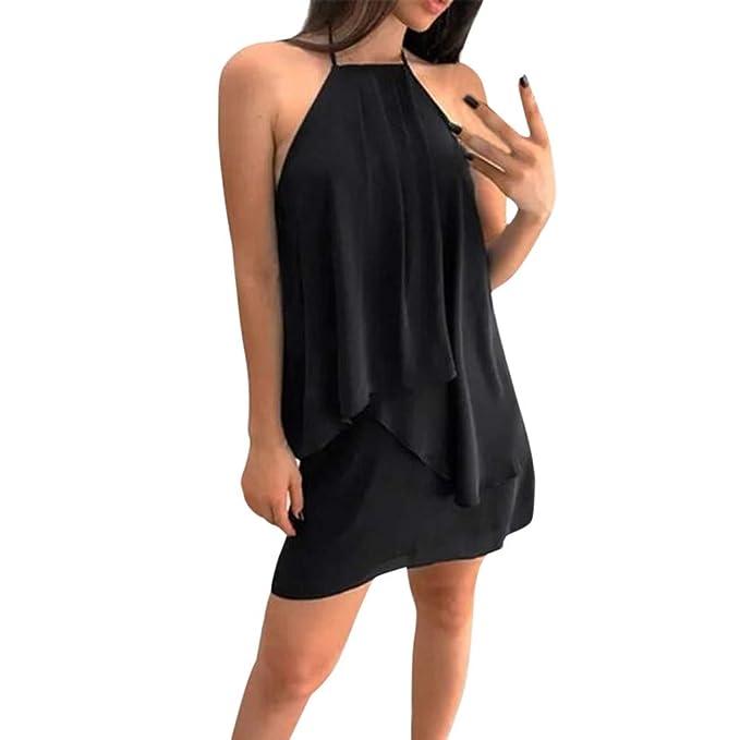 NEEKY Vestidos De Fiesta para Bodas Talla Grandes Vestidos Playa - Vestido sin Mangas de Verano de la Moda de Las Mujeres Vestido Flojo de una línea de ...