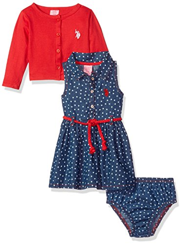 (U.S. Polo Assn. Baby Girls Dress with Sweater or Jacket, Cropped Cardigan/Braid Belt Engine red, 3-6 Months)
