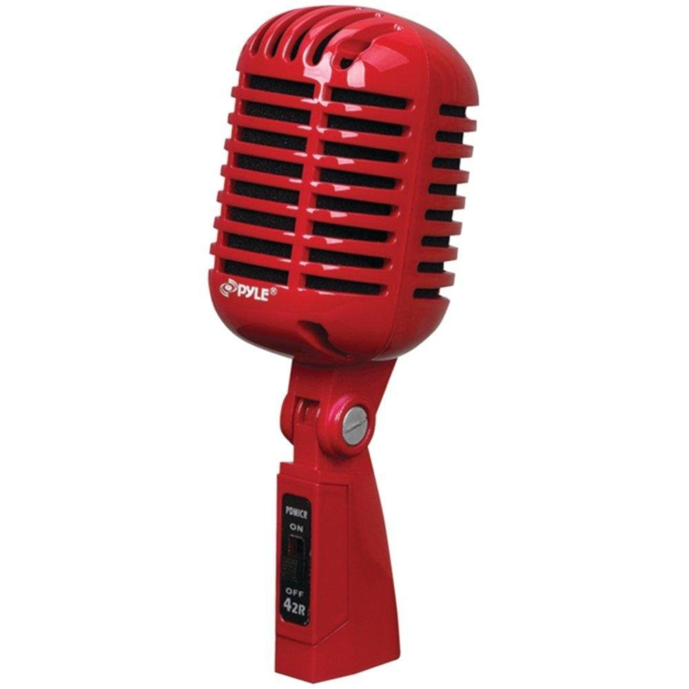 PYLE PDMICR42R Classic Retro-Style Dynamic Vocal Microphone (Red) consumer electronics