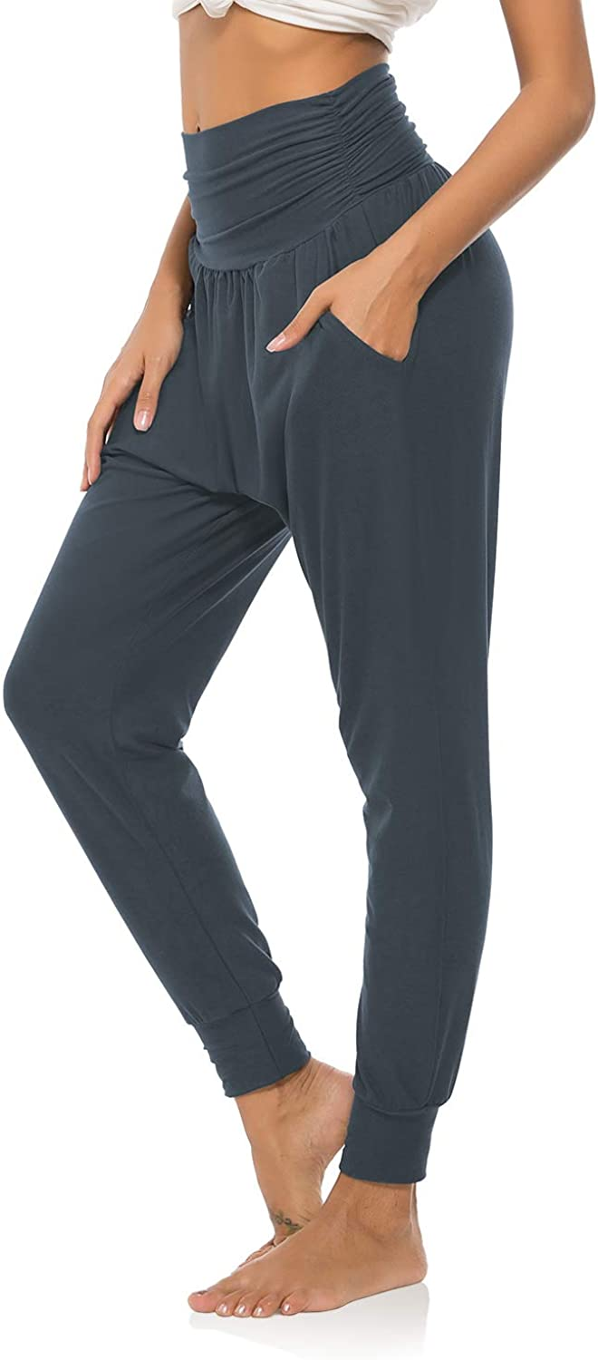DIBAOLONG Womens Yoga Joggers Capri Loose Workout Sweatpants Comfy Lounge Pants with Pockets Gray XL