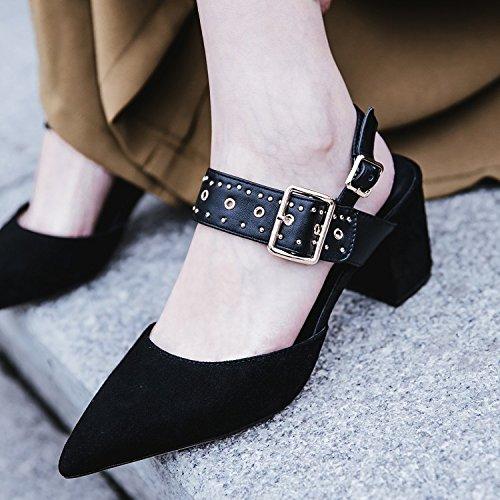 Jqdyl High Heels Damen Einzel Schuhe Fruuml;hling Sommer Damen Einzel Schuhe Spitze starke Ferse High Heel Buckle Sandalen  35|Black