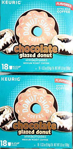 The Original Donut Shop Coffee Chocolate Glazed Donut K Cups - 36 K Cups - Flavored Extra Bold Medium Roast Coffee