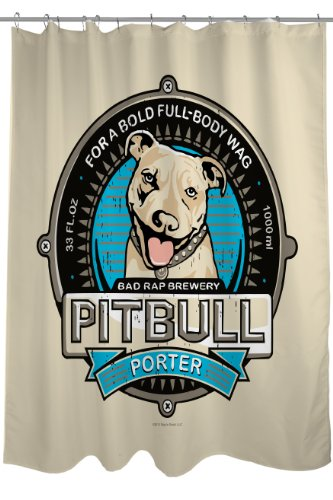 One Bella Casa Pit-Bull Porter Shower Curtain, 71 by 74-Inch
