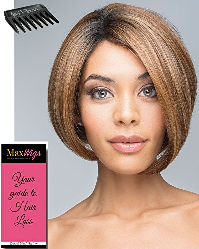 Fabulous Color MOLTEN AMBER Revlon Wigs Chin Length Bob African American Womens Heat Friendly Synthetic Lace Front Monofilament Part Bundle with Wig Comb, Maxwigs Hairloss Booklet ()