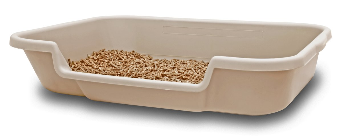 KittyGoHere Senior Cat Litter Box 24'' x 20'' x 5''. Sand color. Opening is 12'' wide and 3'' from the floor. MADE IN THE USA. Other colors are available under PuppyGoHere.