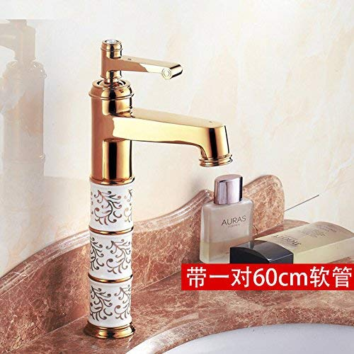 Oudan European Style gold Copper Hot and Cold Basin Mixer Water Tap