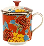 Gracie China 2-Piece Golden Peony Tea Mug with Lid Set, 13-Ounce