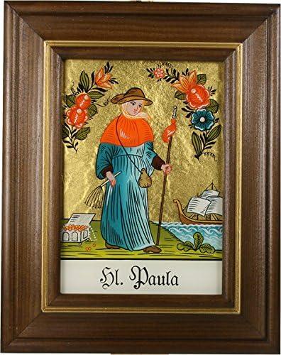 Paula mit braun gebeizten Holzrahmen ca Hinterglaswerkst/ätten B: 12,5 x H: 16 cm handbemalt mit Legende des Heiligen auf der Bildr/ückseite Hinterglasbild // Patronatsbild Hl